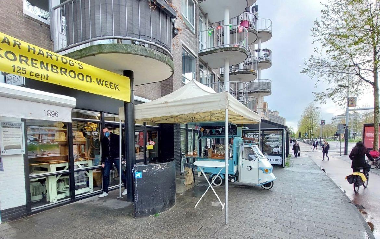 Ruud's mobiele koffiebar op verjaardag bij Bakker Hartog